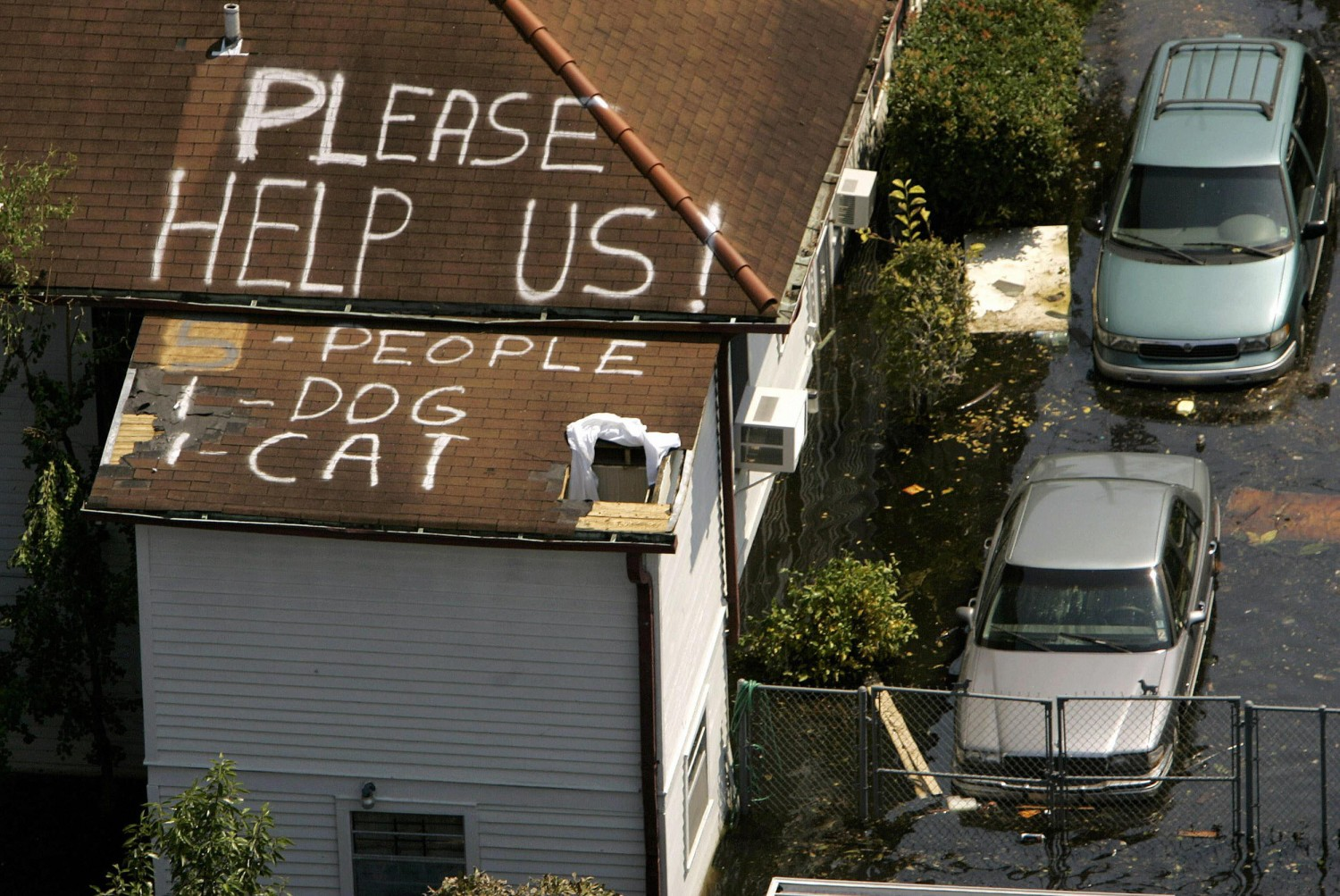 Rooftop graffiti following Hurricane Katrina. Source: katrina,weather.com.