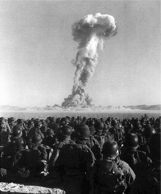 Nevada Test Site, November 2, 1951. Soldiers watching the Buster-Jangle Dog nuclear test, as part of exercise Desert Rock I. Source: Wikimedia Commons.